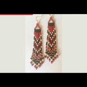 NWOT Burgundy and Black Beaded Earrings